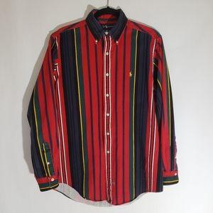 Ralph Lauren Vintage Vivid Stripe Long Sleeve Button Down Shirt Size Medium